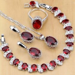 Jewelry Set Red Garnet 925 Silver Wedding Bridal Necklace Set Party Gift