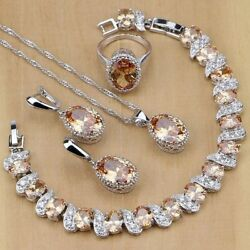 Jewelry Set Champagne Morganite 925 Silver Oval Necklace And Earrings Set