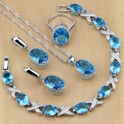 Jewelry Set London Blue Topaz 925 Silver Oval Wedding Bridal Sets Gift Ring