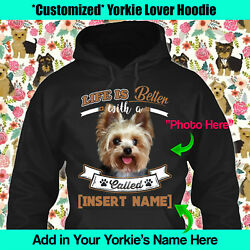 Personalized Yorkie Hoodie Yorkshire Terrier English Life Better Mom Kid Gift