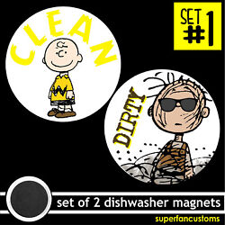 Dishwasher Set Of 2 Magnets Clean Dirty Empty Full Charlie Brown Pigpen 1904