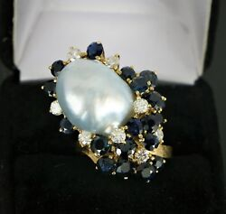 18k Yellow Gold South Sea Baroque Pearl Round Blue Sapphire Diamond Ring Band 7