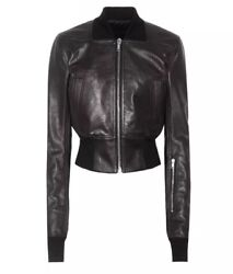 Nwt Rick Owens Ribwaist Leather Black Bomber In Pelle Cropped Jacket Size 42