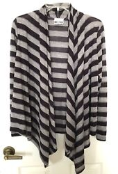 Hot Ginger Women's Striped Open Front Cardigan Long Sleeves Purple Gray 1X Large