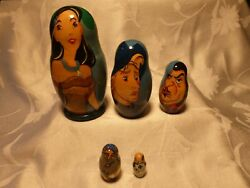 Disney Pocahontas Hand Painted Wooden Russian Nesting Dolls - Set Of 5