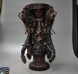 Rare China Old Ox Horn Hand Carved Dragon Oxhorns Goblet Cup Wine Vessel Zun Cup
