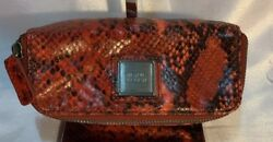 Beautiful Herve Leger Red Leather Snakeskin Print Small Travel Cosmetic Bag