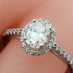 14k White Gold .62ct Oval Diamond Halo Engagement Ring .87 Ctw Size 7