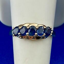 Classic 14k Yellow Gold Sapphire Five Oval Anniversary Birthstone Band Ring 1ctw