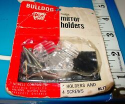 Vintage Ribbed Clear Lucite Plastic Mirror Mounting Clips Holders BullDog NOS