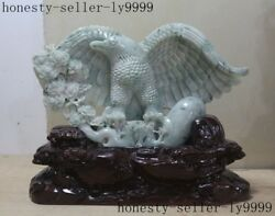 Old China Natural Emerald Jade Jadeite Master Carving Eagle Unfolded Wing Statue