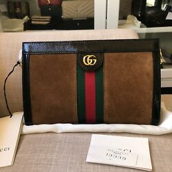 NEW Gucci Linea New Ophidia Small Black Brown Suede Shoulder Bag