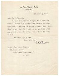 T.s. Eliot Typed Letter Signed - Contributes To Symposium For His 70th Birthday