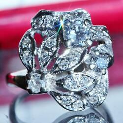 1890and039s Antique 14k White Gold 1.15ct Natural Diamond Size 5 Ring Handmade 5.7gr