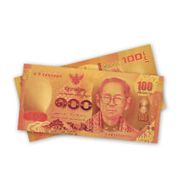 100pcs Thailand 100 Baht Gold Foil Banknote Money Note Currency Bill Collection