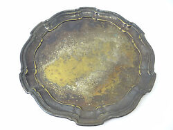 Vintage Poole Silver Co 1042 Epca Silverplate On Brass Serving Tray Plate Used