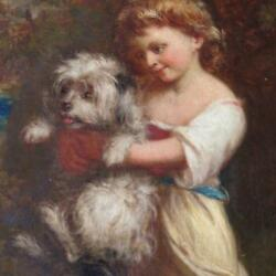 19th Century Painting English School Young Girl Holding Terrier Crossing Stream
