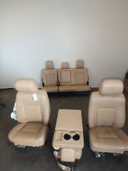 11-16 Ford F350sd Tan Leather Lariat Front/rear Seats Jump Seat Console Power