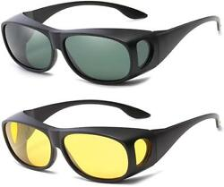 2 Set HD Day amp; Night Vision glasses Men Driving Wraparound Sunglasses Fits OVER $8.95
