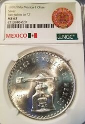 1979/9 Mexico Silver 1 Onza Pan Points To U Ngc Ms 63 Scarce Variety Overdate