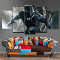HD 5 panel Canvas Art MV Black Panther Marvel Painting Home decor Poster