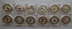 A Complete Set Of 12 X 40mm Colored Brass Medals - Chinese Lunar Year Zodiac