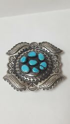 Beautiful Sterling Silver Designer Oval Turquoise Belt Buckle $660.00