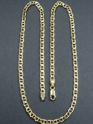 Vintage 14ct Gold Faceted Marine Link Necklace Chain 20 1/2 Inch C.1990 Faro