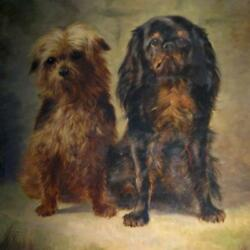 King Charles Spaniel and Terrier Large Oil Painting