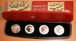 2012 Year Of The Dragon 4 Coin Silver Coin Set Series Ii Type Set