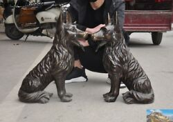22 Chinese Fengshui Pure Bronze Lovable Animal Police Dog Wolfhound Statue Pair