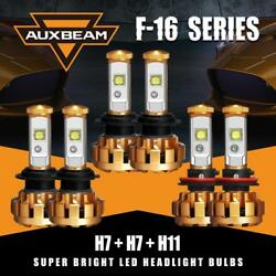 6x Auxbeam H7+H7 Hi&Lo CREE LED Headlight Bulb + H11 H8 Fog Light HID Kit 6000K