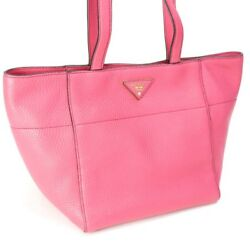 Auth PRADA BR5092 Tote Bag Pink Leather
