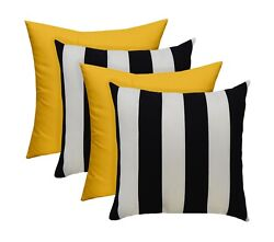 SET OF 4 Outdoor Black White Stripe and Solid Yellow Pillows 17quot; x 17quot;
