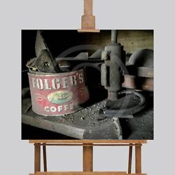 Large Wall Art Canvas Picture Print Vintage Foldgers Coffee Can 24 X 20 Man Cave