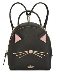 Kate Spade Black Pink Leather Cat's Meow Binx Backpack Crossbody Hand Bag Purse
