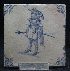 Antique 17th C Delft Blue Tile, Civic Guard As On Nachtwacht, High Heels And Spurs