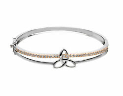 Hallmarked Sterling Silver Trinity Bracelet With Cubic Zirconia Set In Rose Gold
