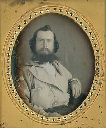 Rugged California Gold Miner Full Beard Dirty Hands 16 Plate Daguerreotype D827