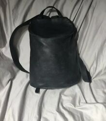 Longchamp BLACK Bucket Pebbled Leather Backpack Bag Purse Tote MADE IN FRANCE
