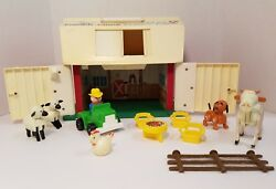 Vintage 1967 Fisher Price Family Play Farm 915 Barn Animals Tractor Farmer Toy