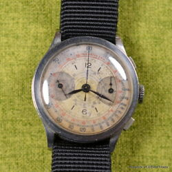 SANCO WW2 ERA 1940s SECTOR DIAL TWO COLOR CHRONOGRAPH TACHY TELEMETER 37MM STEEL
