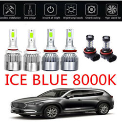6X COB LED Headlight+Fog Light Kit For Mazda 6 2014-2017 8000K  Bulbs ICE Blue