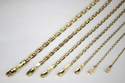 14k Yellow White Rose Gold Tri Color Valentino Chain Necklace 1.5mm5mm / 1626