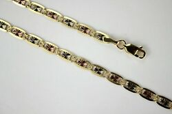 14k Yellow White Rose Gold Tri Color Valentino Chain Necklace 4.2mm 1826