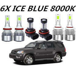COB LED Headlight+Fog Light For Toyota 4Runner 2010-2018 8000K ICE Blue Bulbs