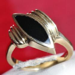 1920and039s Antique 14k Yellow Gold 2.76ct Black Onyx Inlay Size 8 Ring Handmade 6.7g