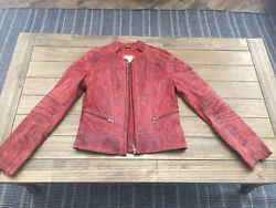 Parker Leather Motorcycle Jacket - Rustic Orange Size M Fits Like A Small
