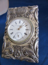 Antique Black Star And Trost Ny Wind Up Fancy Silver Plated Case Table Clock