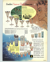 1957 Paper Ad Sinclair Glass Treasure Chest Golden Crystal Cocktail Shaker Juice